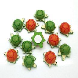 Кабошон черепаха дерево 16*21 мм, цв.: зелёный, оранжевый