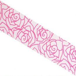 Лента репсовая с рисунком 25 мм Розы