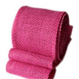 Лента джутовая 50 мм, цвет: розовый