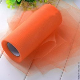 Фатин в рулоне 22,86 м, цвет: темно-оранжевый