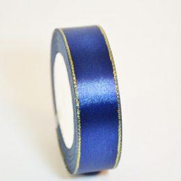 Атласная лента с люрексом 25 мм, цвет: синий