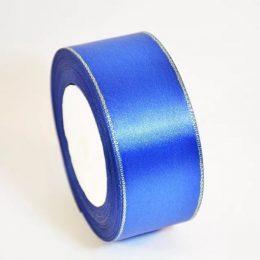 Атласная лента с люрексом 40 мм, цвет: синий