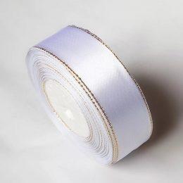 Атласная лента с люрексом 25 мм, цвет: белый