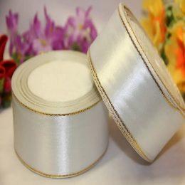 Атласная лента с люрексом 40 мм, цвет: белый