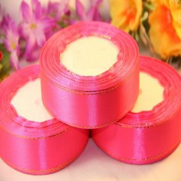 Атласная лента с люрексом 25 мм, цвет: розовый
