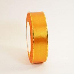 Атласная лента с люрексом 40 мм, цвет: оранжевый