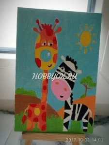 Картины по номерам от наших клентов. Художники: Дарья (5 лет) и мама Ирина.