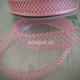 Лента декоративная 22 мм, сетка, цвет: розовый