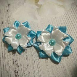 Заколки - банты Голубой цветок