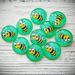 Кабошон стеклянный Пчёлка 25 мм