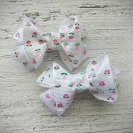 Банты на резинках, цвет: белый с тюльпанами