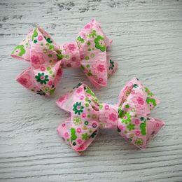 Банты на резинках, цвет: розовый с цветами