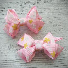Банты на резинках, цвет: розовый с бабочками