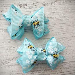 Банты на резинках, цвет: голубой с пчелками