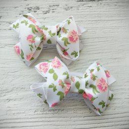 Банты на резинках, цвет: белый с пионами