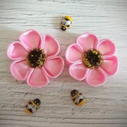 Ромашки розовые на резиночках для волос