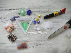 Фото 1. Инструментты и материалы для создания серединки из бисера