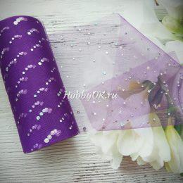 Фатин со стразами, ширина 15 см, цвет: фиолетовый