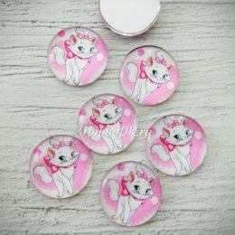 Кабошоны-фишки стеклянный Киска 25 мм розовый