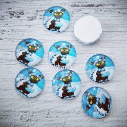 Кабошон стеклянный Кот 25 мм синий