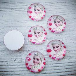 Кабошон стеклянный Холодное сердце Эльза 25 мм розовый