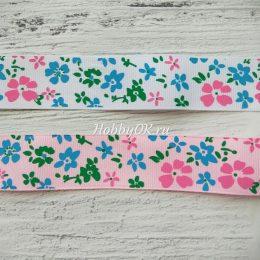 Репсовая лента с рисунком 25 мм Цветы