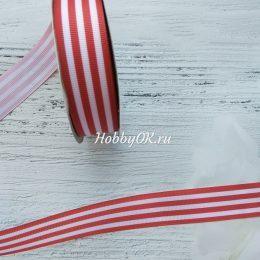 Репсовая лента 25 мм, Полоска, цвет: красный