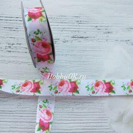 Репсовая лента 25 мм, Цветы - Пионы
