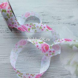Репсовая лента 25 мм, Цветы - Розы
