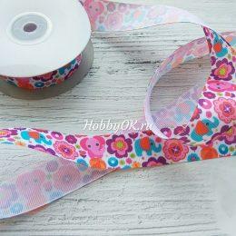 Репсовая лента 25 мм, Слоники с цветами