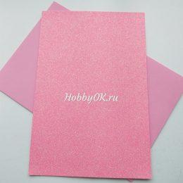 Фоамиран глиттерный 2мм 20/30 см Розовый неон