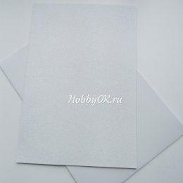 Фоамиран глиттерный 2мм 20/30 см Белый