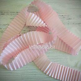 Атласная лента гофрированная 40 мм, цвет: розовый