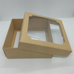 Коробка крафт с окном 14,5*14,5*6 см