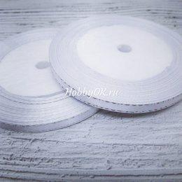 Атласная лента с люрексом 6 мм, цвет: белый с серебром