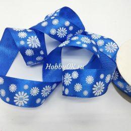 Атласная лента с ромашками 25 мм, синяя
