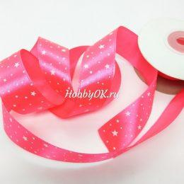 Атласная лента со звездами 25 мм, ярко-розовая
