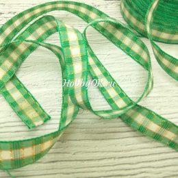 Хлопковая лента с люрексом в клетку 15 мм, цвет: зелёный