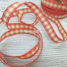 Хлопковая лента с люрексом в клетку 15 мм, цвет: красный