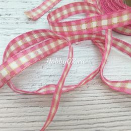 Хлопковая лента с люрексом в клетку 15 мм, цвет: розовый