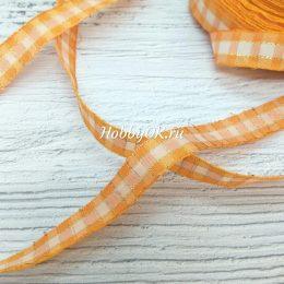 Хлопковая лента с люрексом в клетку 15 мм, цвет: оранжевый