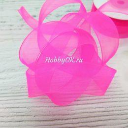 Лента органза 20 мм, цвет: розовый неон
