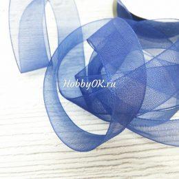 Лента органза 20 мм, цвет: темно-синий