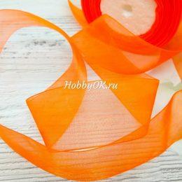 Лента органза 40 мм, цвет: оранжевый