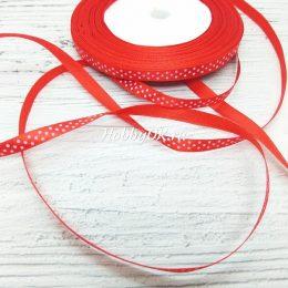 Атласная лента в горошек 6 мм, красная