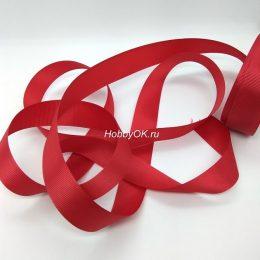 Репсовая лента 25 мм, цвет: насыщенный красный арт. 5614