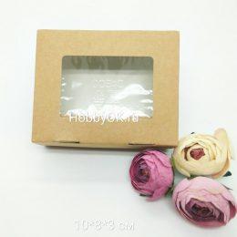 Коробка с прозрачной крышкой 10*8*3 см цвет: коричневый