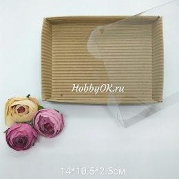 Коробка с прозрачной крышкой 14*10,5*2,5 см цвет: коричневый