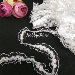 Декоративная резинка 20 мм, цвет: белый, арт.3650