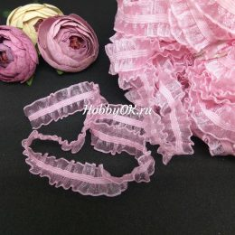Кружево на резинке 15 мм, цвет: розовый, арт.5204
